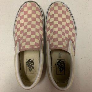 Checkered pink Vans